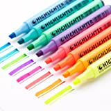 EASTHILL 8Pcs Permanent Markers Tip Gel Highlighters Assorted Colored pens For Study Planner Office Art Drawing Sketching Underlining (Color: 8 colors)