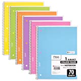 Mead Spiral Notebook, 6 Pack of 1-Subject College Ruled Spiral Bound Notebooks, Pastel Color (Color: assorted, Tamaño: 6 Pack)