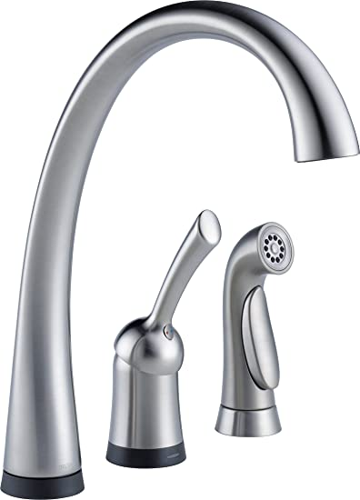 Delta Faucet 4380T-AR-DST Pilar Single Handle Kitchen Faucet with Touch2O Technology and Spray, Arctic Stainless