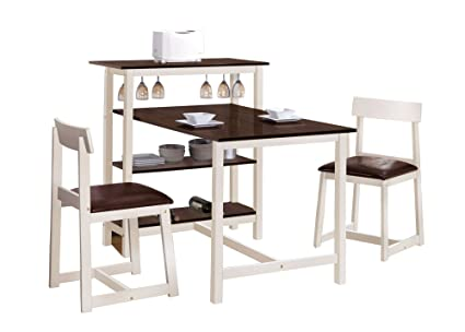 ACME 60213 Halle 3-Pack Counter Height Dining Set, White and Espresso Finish/Brown PU