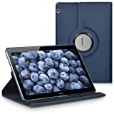 kwmobile 360° Case Compatible with Huawei MediaPad T3 10 - PU Leather Tablet Cover with Stand - Dark Blue (Color: .dark blue)