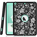 Hocase iPad 9.7 2018/2017 Case Heavy Duty Shockproof Silicone Rubber+Hard Shell Hybrid Protective Case w/ Rose Floral Print for iPad 5th/6th Generation A1893/A1954/A1822/A1823 - Black / Teal (Color: Black Rose Flowers / Teal)
