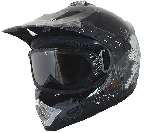 Qtech - Casque et lunettes protectrices de moto-cross - enfant - Noir - S (53-54 cm)