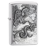 Zippo Eagle vs Snake Emblem Design Brushed Chrome Lighter (Color: Eagle and Snake, Tamaño: One Size)