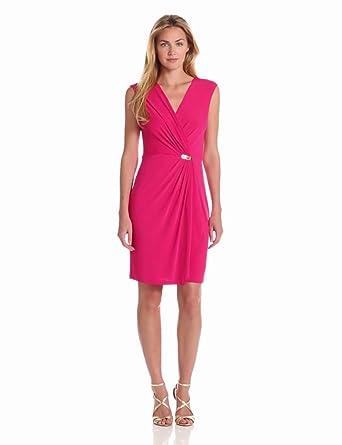 Sandra Darren Women's Sleeveless Faux Wrap Dress, Pink, 6 at Amazon
