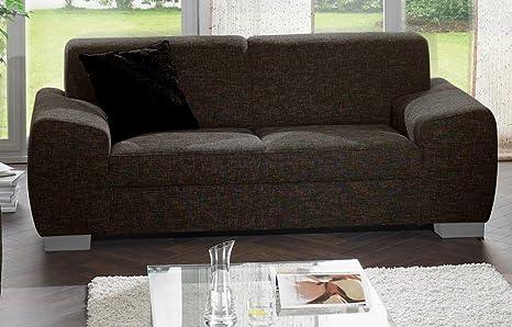 FLORENZ 2er Sofa Couch 2-Sitzer Strukturstoff Dunkelbraun