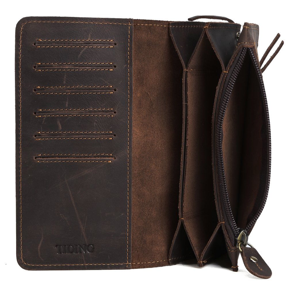 Tiding Men's Brown Crazy Horse Leather Wallet Vintage Style Card Holder Bifold 33777 2