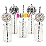 70's Disco - Paper Straw Decor - 1970's Disco Fever Party Striped Decorative Straws - Set of 24 (Color: Multicolored)