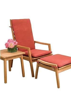 Oxford Garden 5 Piece Siena Shorea Chat Set with Dupione Papaya Sunbrella Cushions, Natural