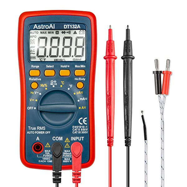 AstroAI Digital Multimeter, TRMS 4000 Counts Volt Meter Manual and Auto Ranging; Measures Voltage Tester, Current, Resistance, Continuity, Frequency; Tests Diodes, Temperature, Red (Color: Red, Tamaño: Medium)