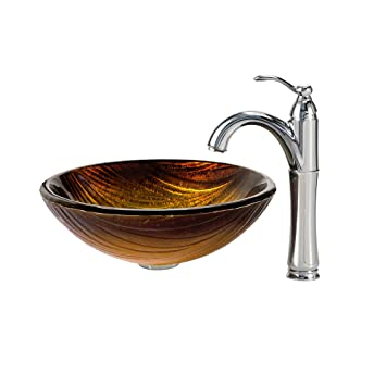 Kraus C-GV-390-19mm-1005CH Midas Glass Vessel Sink and Riviera Faucet Chrome