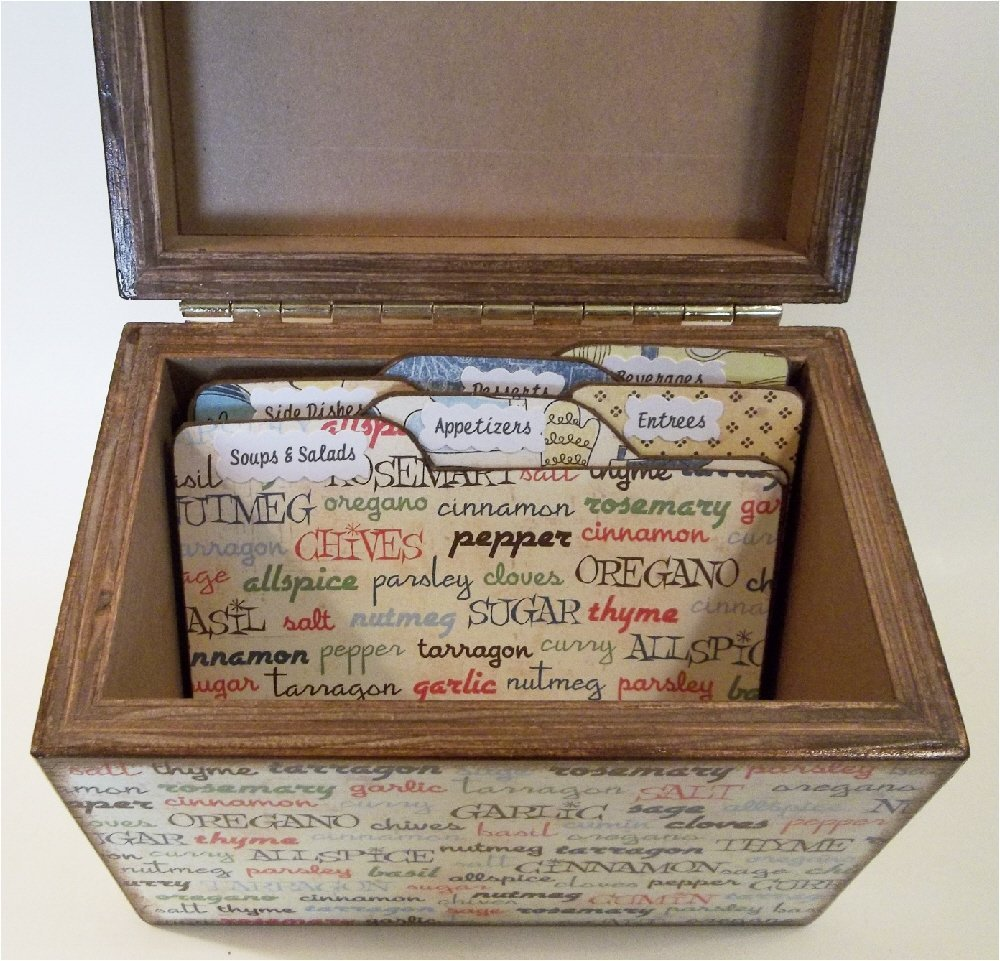 Recipe Box, Tab Dividers SET Wood, Holds 4x6 Recipe Cards, Kitchen Spices, Utencils, Decoupaged
