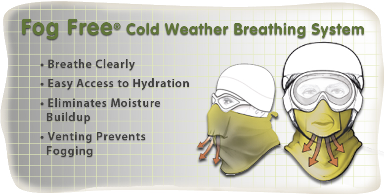 Fog Free Cold Weather Breathing System helps you breathe clearly,gives you easy access to hydration,eliminates moisture buildup and the venting prevents fogging.