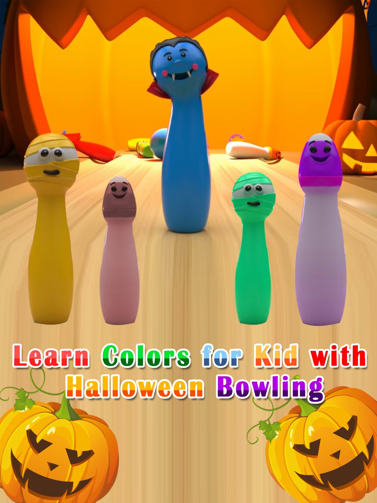 Learn Colors for Kid with Halloween Bowling