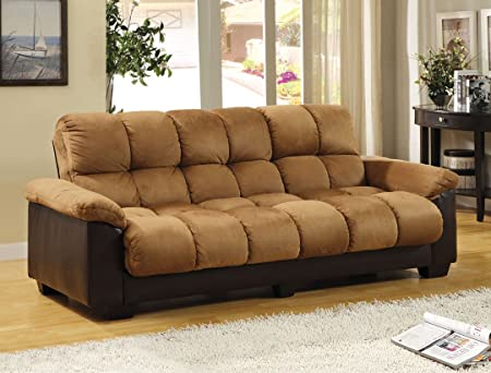 Brantford Stylish & Comfortable Style Design Camel & Espresso Finish Plush Microfiber Cushions/Leatherette Base Futon Sofa with Large Storage Area Under Seat