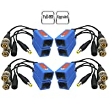 Igreeman 4 Pair Passive Video Balun BNC to RJ45 Adapter with Power (Upgraded Solution) Full HD 1080P-5MP Surveillance Security Camera Ethernet Cable Transceiver Cat5e/Cat6 Cable to BNC Male Connector (Color: Blue)