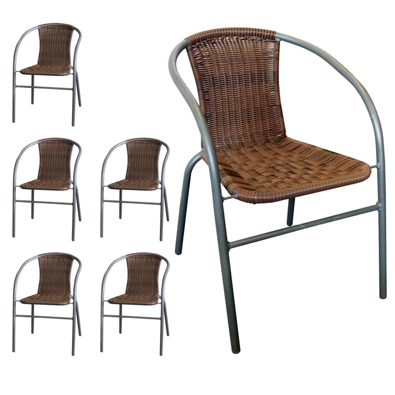 6 Stück Rattan Bistrostuhl stapelbar Polyrattanbespannung in Cappuccino – Stapelstuhl Gartenstuhl Balkonstuhl jetzt kaufen