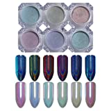 NICOLE DIARY 6 Boxes Holographic Nail Powder Chameleon Effect Pearl Mermaid Mirror Glitter Nail Art Chrome Pigment Decoration (6 Colors) (Color: 6 colors)