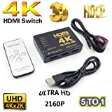 HDMI Switch 4K, 5 Ports HDMI Switcher Hub Splitter Support 4K, Ultra HD 2160P with IR Remote Control for PC Laptop, Xbox 360/One, PS4/PS3, Nintendo Switch, Blu-ray player, Apple TV, Roku/Fire Stick