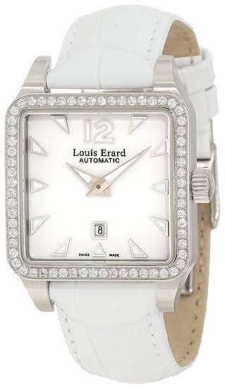 Louis Erard Women's 20700SE01.BDC61 Emotion Square Automatic White Leather Diamond Watch
