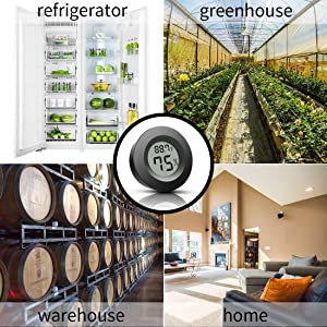Mini Thermometer Hygrometer, Fahrenheit (?) and Celsius Digital Refrigerator Freezer Thermometer with LCD Display 4-Pack Round Hygrometer for Greenhouse, Garden, Humidors, Cellar, Closet (Color: Black)