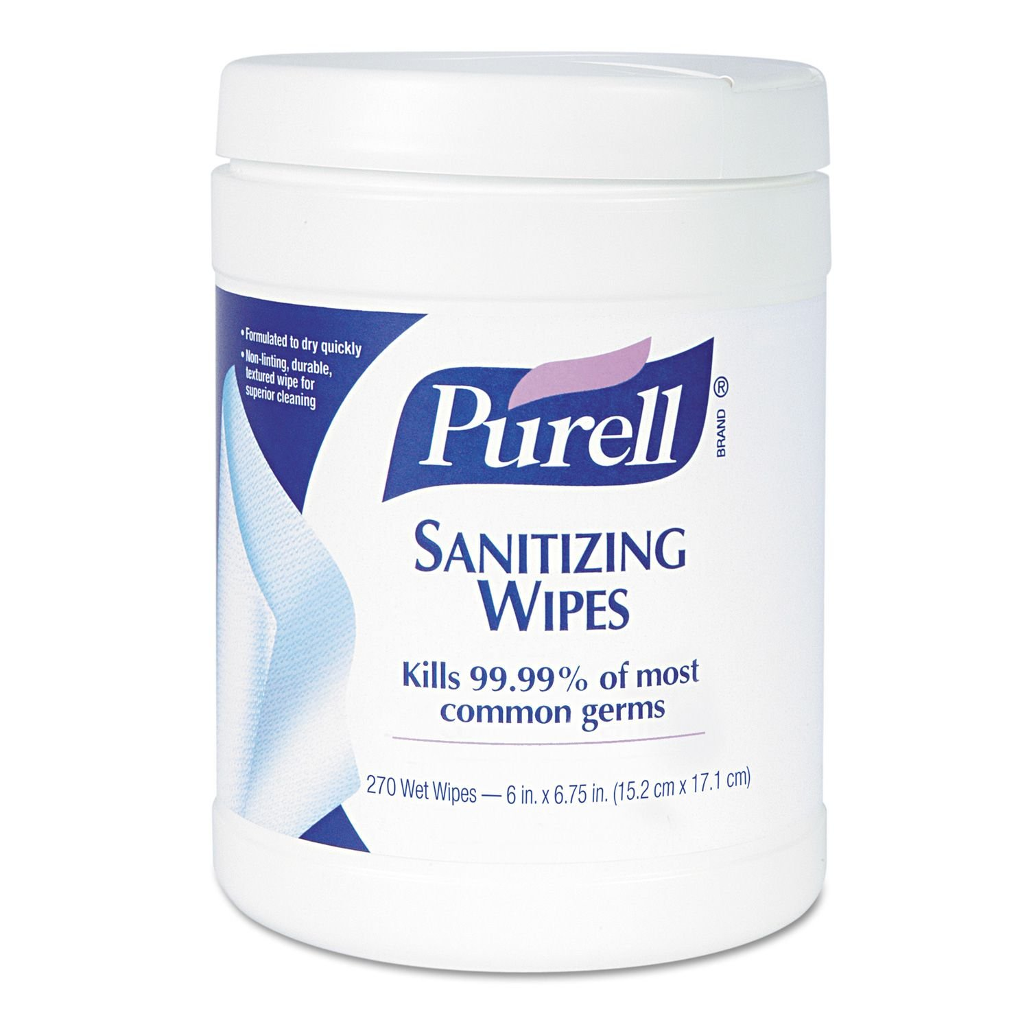 Purell - Sanitizing Hand Wipes, 6 x 6 3/4, White, 270/Canister - 12 Canisters/Carton kitnsn2828201nsn5220835 value kit nib nish 8520015220835 purell instant hand sanitizer nsn5220835 and nib nish 7510002828201 binder clip nsn2828201