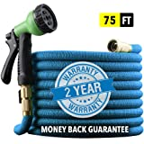 "[2019 UPGRADED] X-STREAM 75 ft Non-Kink Expandable Garden Hose, UPGRADED 10-PATTERN Spray Nozzle INCLUDED, 3/4"" Brass Fittings with Shutoff Valve, BEST 75' Foot Garden Hose - 2 YEAR WARRANTY - BLUE"