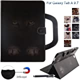 Galaxy Tab A 9.7 Case, Newshine Portable Type PU Leather Standing Cover Protective Folio Case with Card Slots for Samsung Galaxy Tab A 9.7 inch SM-T550 Tablet 2015 Release, Dark Cat (Color: 1 Dark Cat)