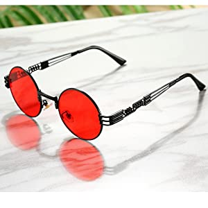 82d9cabf52f COASION Vintage Round John Lennon Sunglasses Steampunk Gold Metal Frame  Clear Sun Glasses (Black Frame Red ...