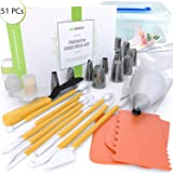 Cake Decorating Kit | 51 Pieces Bakery Supplies Set | 6 Russian Pipping | 6 Cone Tips | Spatula | 21 Pastry Bags | 3 Scrapers | Tricolor | Coupler | Cupcake Corer | 8 Fantang Tools | Guide | Gift Box (Color: Yellow, White, Orange, Tamaño: 51 pieces Set)