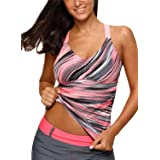 Aleumdr Womens 2018 Juniors Printed Strappy Racerback Padded Blouson Tankini Swim Top No Bottom Plus 2XL Size Multicoloured (Color: As Picture, Tamaño: XX-Large(fits like US18-20))