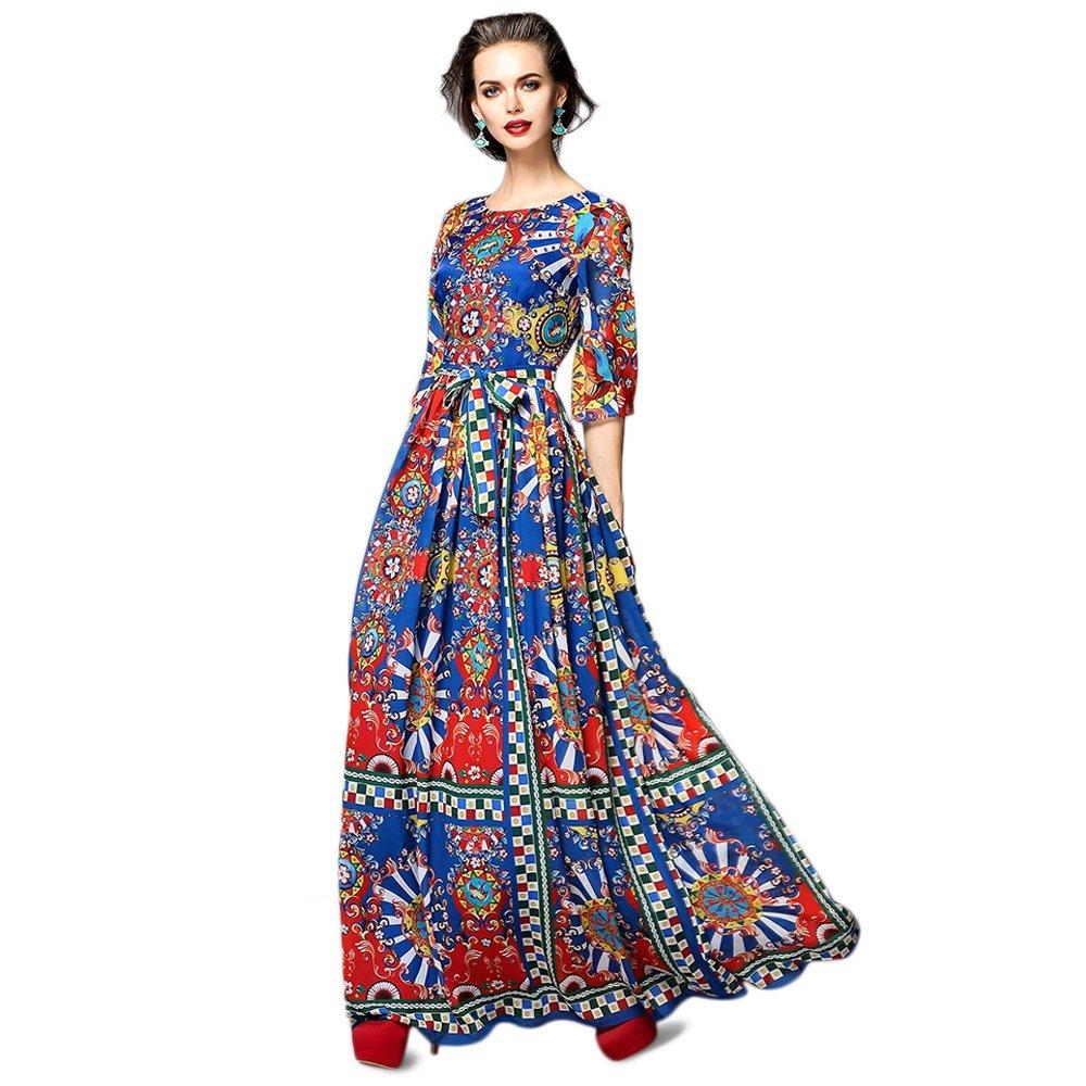 Dezzal Women's Vintage Geometric Print Cocktail Party Maxi Dress 0