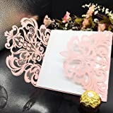 WOMHOPE® 50 Pcs - Flower Hollow Laser Cut Lace Shimmer Wedding Invitation Party Invitations Cards Birthday Invitations Cards Wedding Favors (Pink & White) (Color: Pink & White, Tamaño: 5.9