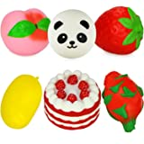Dreampark Jumbo Slow Rising Fruit Squishes Strawberry Peach Mango Dragon Panda Cake Squishy Charms Kawaii Cream Scented Stress Relief Toy [Pack of 6] (Color: Fruit Squishy 6 Pack)