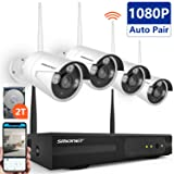 [Full HD]Wireless Security Camera System,SMONET 4CH 1080P Wireless Video Security System with 2TB HDD(WIFI NVR KIT),4pcs 1080P Indoor/Outdoor Wireless IP Cameras,P2P,65ft Night Vision,Easy Remote View (Color: 4pcs 1080P Cams+4CH 1080P NVR(2TB HDD), Tamaño: 1080P Wireless System)