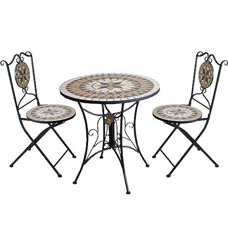 3tlg. Gartengarnitur Mosaiktisch Metall Ø70cm + 2x Mosaik Klappstuhl Sterndesign Sitzgarnitur Balkonmöbel