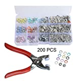 YYaaloa 10 Colors Snap Fasteners Kit Tool, 200 Sets 9.5mm Metal Snaps Buttons with Fastener Pliers Press Tool Kit for for Sewing and Crafting Clothing (200pcs 10 Colors) (Color: 200pcs 10 colors)
