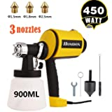 Homdox Paint Sprayer, Electric Spray Gun High Power HVLP Home Electric Spray Gun with 3 Spray Patterns 3 Nozzle Sizes & 900 ML Detachable Container (Color: Yellow)