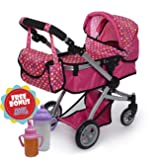 Exquisite Buggy Deluxe POLKA DOTS Doll Pram Stroller with Swiveling Wheels & Adjustable Handle and A Free Carriage Bag With 2 FREE Magic Bottles Included