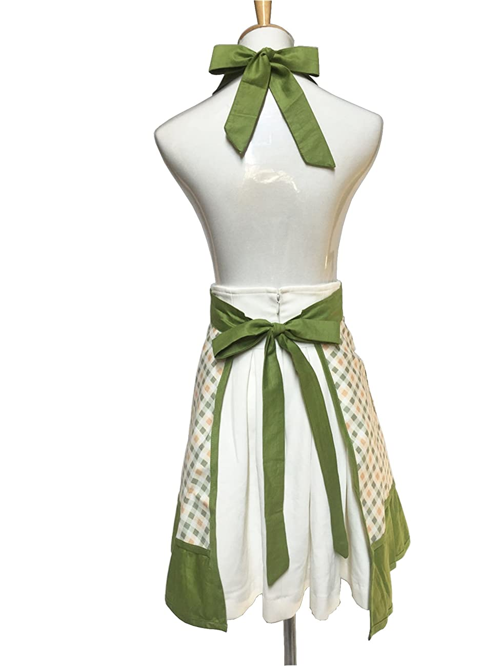 Lovely Sweetheart Retro Kitchen Aprons Woman Girl Cotton Cooking Salon Pinafore Vintage Apron Dress with Pocket,Green 2