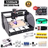 2-in-1 CNC 3018pro-M DIY Mini CNC Machine, Yofuly 5500mW Laser Engraver, GRBL Control 3 Axis DIY Mini CNC Machine Wood Router Engraving Machine with Offline Controller + ER11 Extension Rod + CNC Rout