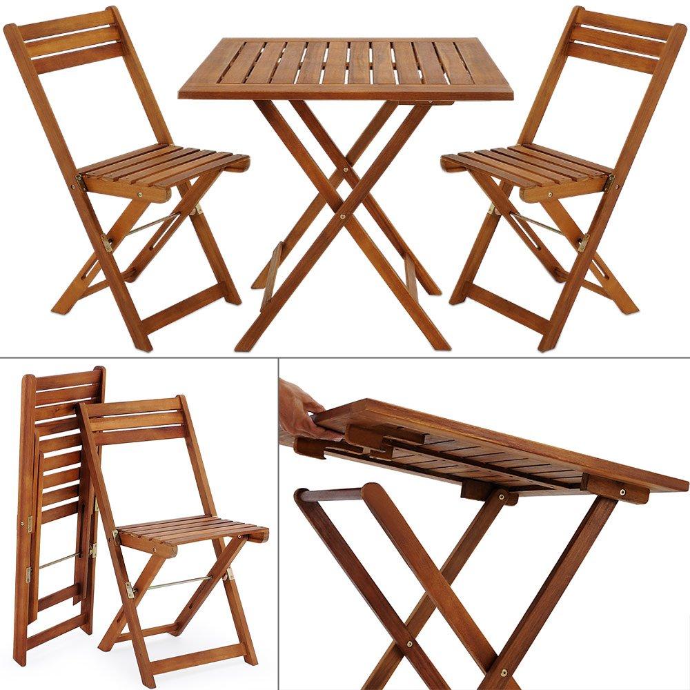 Balkonset Akazie Braun 2 Stühle 1 Tisch klappbar - Bistroset Gartenmöbel Sitzgruppe