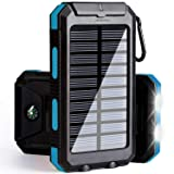 soyond Solar Phone Charger Power Bank-10000 mAh Portable External Backup Battery Pack Solar Battery Charger Dual USB Waterproof 2 Led Light Flashlight Compass for Camping Outdoor (Blue)