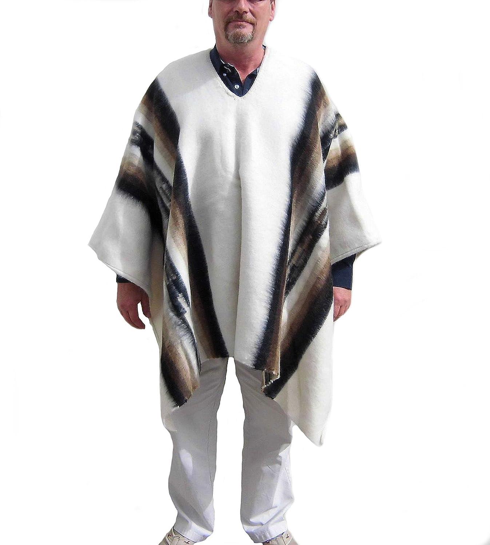 Alpacaandmore Herren Peruanischer Original Poncho Alpakawolle Anden Schaman Weiss