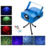 DuaFire Laser Lights, 7 Colors Led Stage Party Light Projector, Strobe Water Ripples Lighting for Wedding, Home Karaoke, Club, Bar, Disco and DJ (Color: Blue)