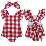 Vicbovo Clearance Sale Infant Baby Girls Cute Plaid Bowknot Ruffles Romper Bodysuit Headband Clothes Set (Red, 0-3M)