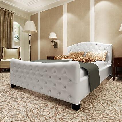 Cama de lujo de cuero artificial de 140 x 200 cm Blanco