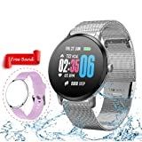 Smart Watch,Fitness Tracker with Heart Rate & Blood Pressure Monitor for Android & iOS, Waterproof Activity Tracker Watch with Sleep & Blood Oxygen Monitor, Calorie Counter & Pedometer for Women Men (Color: Silver)
