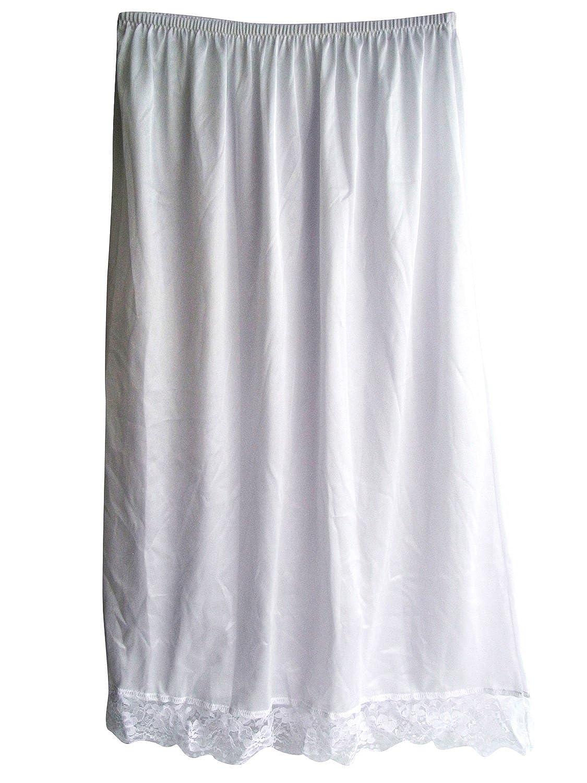 Damen Nylon Halbrock Weiß SANWH White Petticoats lingerie Half Slip Ladies