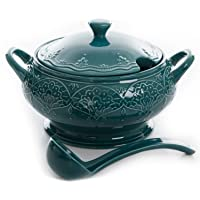 The Pioneer Woman Farmhouse Lace Tureen with Lid and Ladle (Ocean Teal)